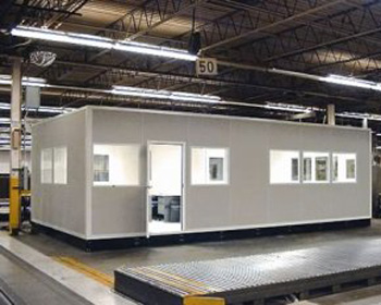 panel built modular prefabricated interior in plant offices